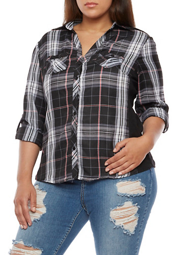 Plus Size Plaid Button Front Top with Rib Knit Panel at Rainbow Shops in Daytona Beach, FL | Tuggl