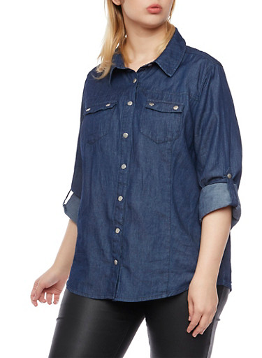 Plus Size Chambray Shirt with Snap Front,NAVY,large