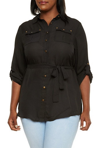 Plus Size Belted Tunic Top with Button Front,BLACK,large