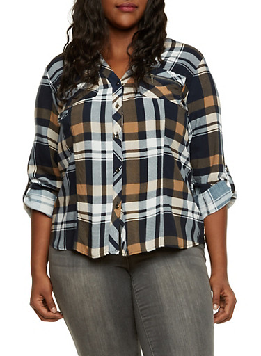 Plus Size Plaid Shirt with High Low Hem,NAVY,large