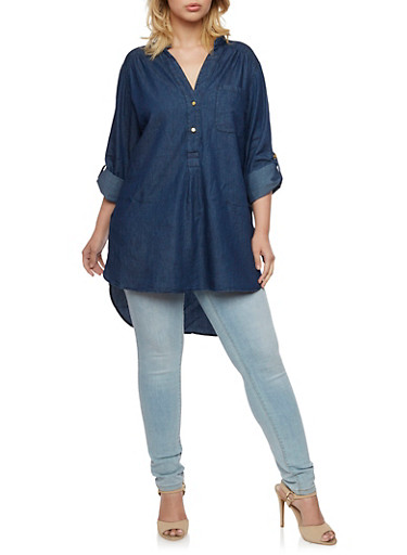 Plus Size Denim Tunic Top with High Low Hem,NAVY,large