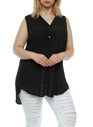 Plus Size Textural Top with Tulip Back and Button V-Neck,BLACK,large