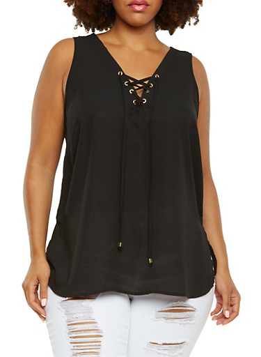 Plus Size Chiffon Top with Lace-Up V-Neck,BLACK,large