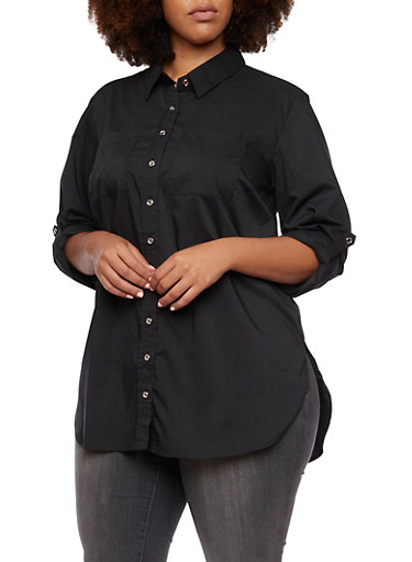 Plus Size Tunic Top with Button Front,BLACK,large