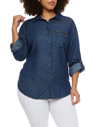 Plus Size Chambray Shirt with High Low Hem,NAVY,large