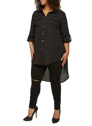 Plus Size Sheer High-Low Tunic Top,BLACK,large