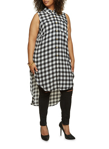 Plus Size Plaid Maxi Top with Side Slits,BLACK/WHITE,large