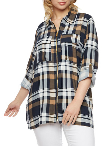 Plus Size Plaid Top with Zip Front,NAVY,large