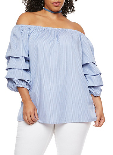 Plus Size Striped Tiered Sleeves Off the Shoulder Top,NAVY DK BLUE,large