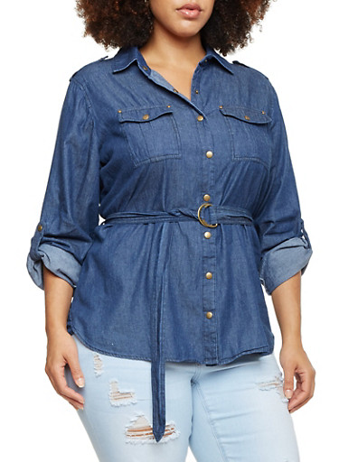 Plus Size Denim Button Up Top with Belt,NAVY,large