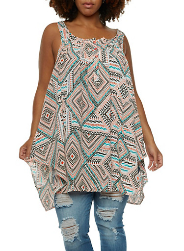 Plus Size Asymmetrical Tunic Top in Abstract Print,MINT,large