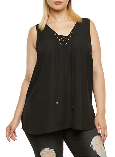 Chiffon Top with Lace-Up V-Neck,BLACK,large