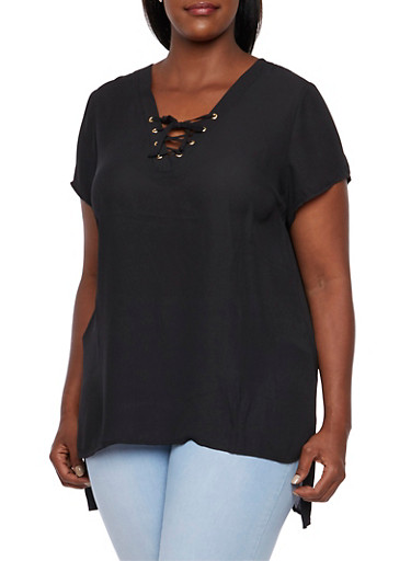 Plus Size Chiffon Tunic Top with Lace-Up V-Neck,BLACK,large
