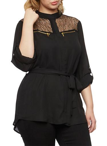 Plus Size Chiffon Tunic with Mesh Lace Paneling,BLACK,large