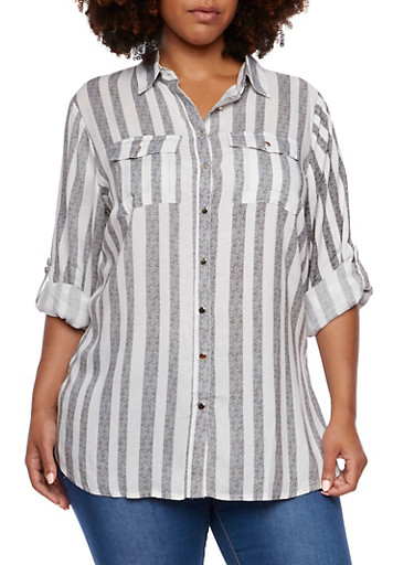 Plus Size Striped Shirt with Side Slits,GRAY,large