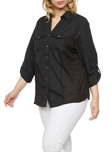 Plus Size Striped Shirt with Rib Knit Insets,BLACK,large