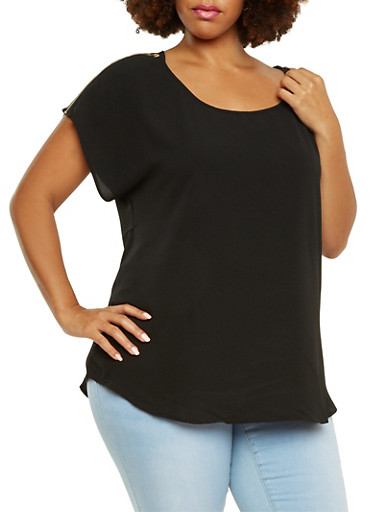 Plus Size Top with Zippered Shoulders,BLACK,large