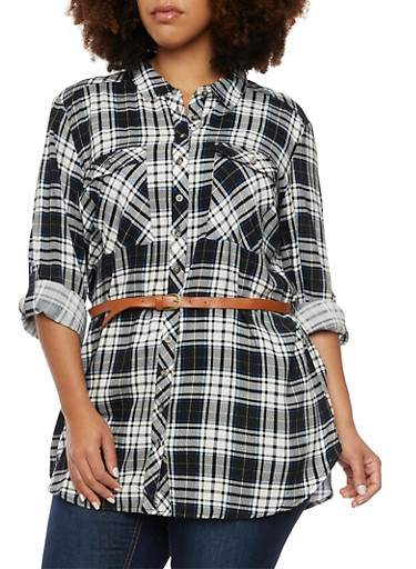 Plus Size Plaid Button Up Tunic Top with Belt,BLACK,large