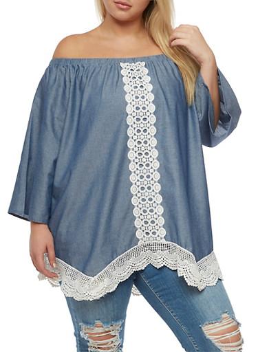 Plus Size Denim Knit Off the Shoulder Top,BLUE,large