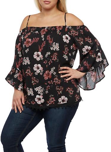 Plus Size Smocked Neck Off the Shoulder Top,BLACK,large