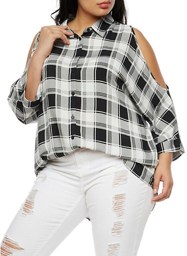 Plus Size Plaid Long Sleeve Cold Shoulder Top,BLACK/WHITE,large