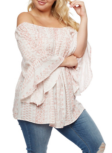 Plus Size Off the Shoulder Smocked Printed Top,MAUVE,large