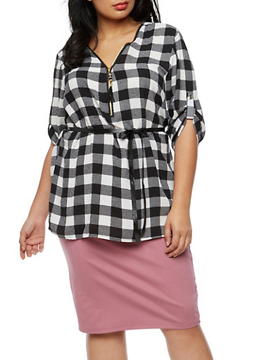 Plus Size Crepe Knit Plaid Top,BLACK/WHITE,large