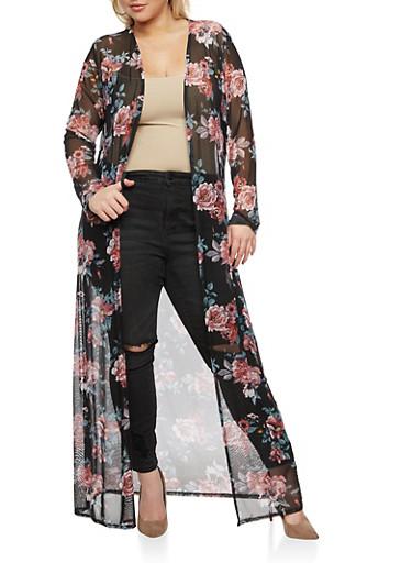 Plus Size Floral Print Mesh Duster,BLUSH/GOLD #30,large