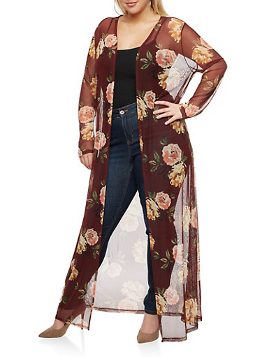 Plus Size Mesh Floral Long Duster,BURGUNDY # 39,large