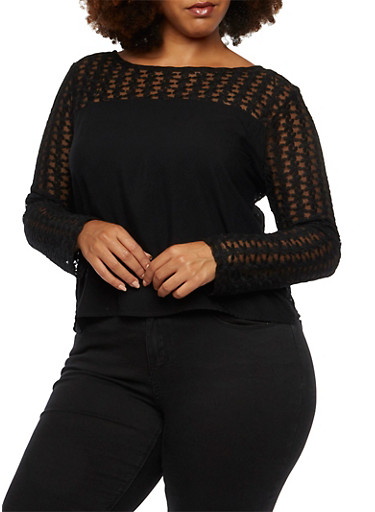 Plus Size Long Sleeve Top with Floral Crochet Yoke,BLACK,large