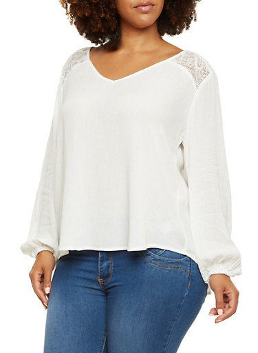 Plus Size Peasant Top with Lace Panels and Back Slit,IVORY (OFF WHITE),large