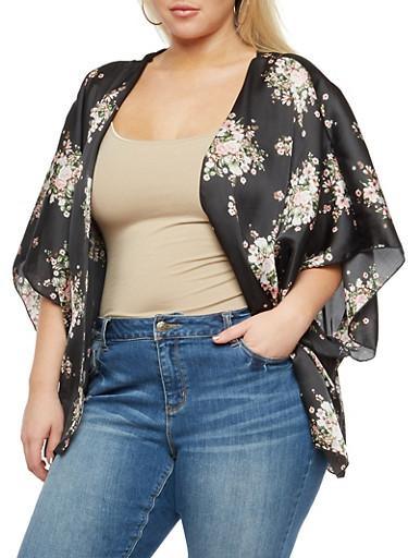 Plus Size Floral Kimono,BLACK/PINK #29,large