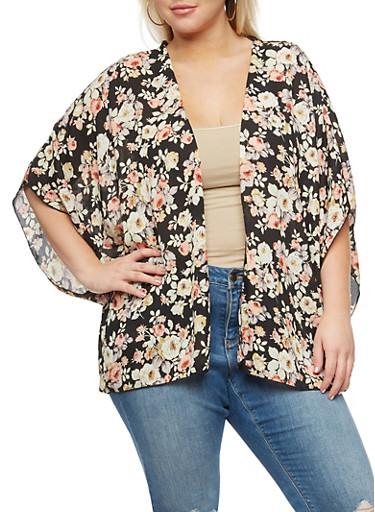 Plus Size Crepe Knit Floral Kimono,BLACK,large