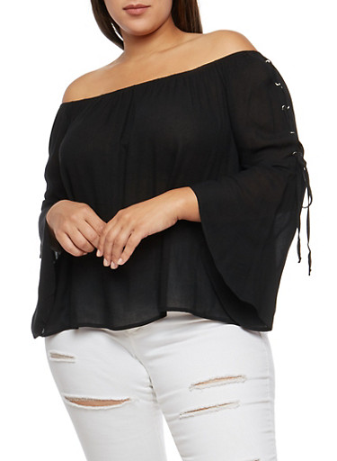 Plus Size Lace Up Bell Sleeve Off the Shoulder Top,BLACK,large