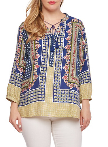 Plus Size Paisley Top with Ties at Button V-Neck,NAVY,large
