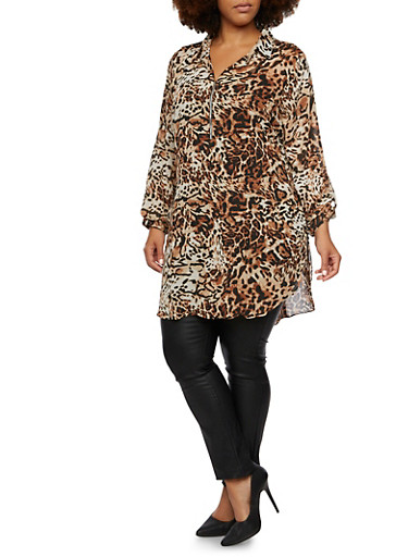 Plus Size Leopard Print Tunic Top with Slit Sides,BROWN,large