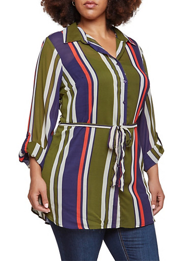 Plus Size Striped Tunic Top with Waist Tie Belt,OLIVE,large