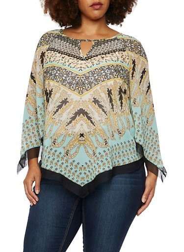 Plus Size Asymmetrical Top in Mixed Print,GREEN,large