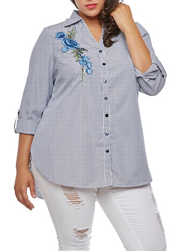 Plus Size Striped Button Front Top,BLUE,large