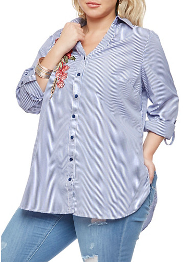 Plus Size Striped Button Front Top,BLUE,large
