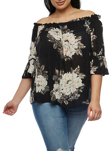 Plus Size Off the Shoulder Floral Gauze Knit Top,BLACK/MAUVE,large