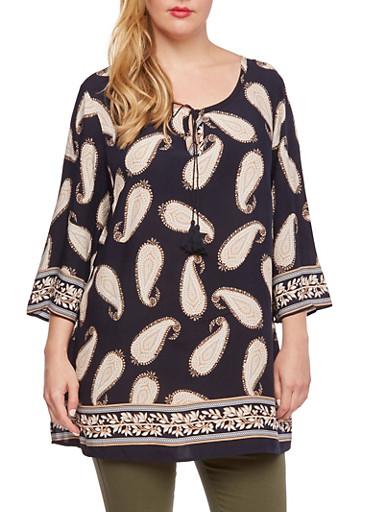 Plus Size Paisley Print Tunic Top,BLACK,large