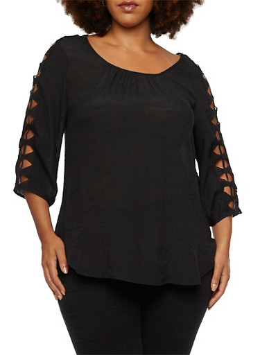 Plus Size Top with Crocheted Three-Quarter Sleeves,BLACK,large