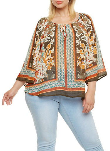 Plus Size Printed Peasant Top with Tie Neckline,GOLD,large