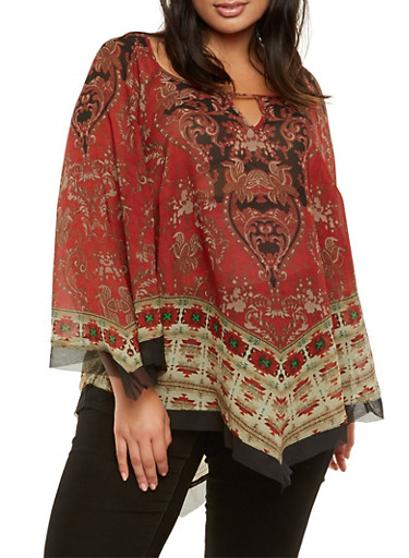 Plus Size Medallion Print Top with Tulle Trim,BURGUNDY,large