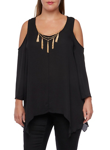 Plus Size Cold Shoulder Chiffon Top with Necklace,BLACK,large