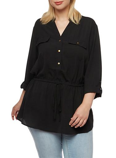 Plus Size Mandarin Collar Top with Drawstring Waist,BLACK,large