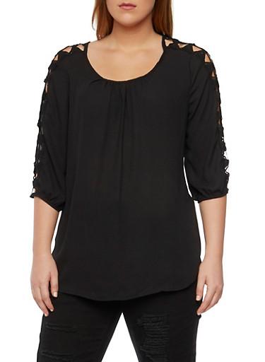 Plus Size Peasant Top with Crochet Trim,BLACK,large