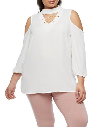 Plus Size Cold Shoulder Choker Top,WHITE,large