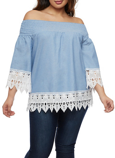 Plus Size Off the Shoulder Chambray Crochet Trim Top,CHAMBRAY,large